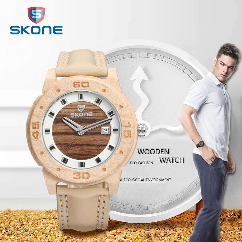 SKONE 2017 Luxury Natural Wooden Mens Watches Fashion Leather Band Wood Watch Men Casual Quartz Wristwatches Relogio Masculino<br><br>Aliexpress