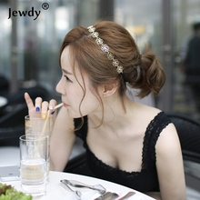 Jewdy Fashion Rose Flower Hair Head Band Accessories Gold Color Hollow Out Rose Hair Jewelry Hairbands gold color for women(China)