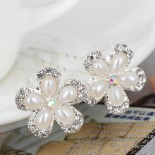 20Pcs Pearls Crystal Wedding Bridal Hair Pins Clips Five Petals Flower Rhinestone Hairpins Fashion Jewelry Accessories