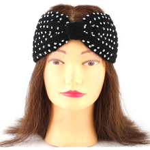 Korean Diamond Rivets Hairband Women 2017 Elastic Bow Hair Band Head Ornament Crochet Accessories Headband Headdress Ornament UK