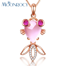 MOONROCY Free Shipping Rose Gold Color Cute Fish Ross Quartz Pink Opal Jewelry Wedding Necklace for Women Girls Gift Choker(China)