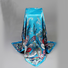 New Brand Women Satin Square Scarf Polyester Silk Scarves Flower Shawl Hijab Fashion Style Sunscreen Shawls Big Size 90*90 Sale(China)