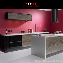Luxury modern high gloss wood grain laminate kitchen cabinets