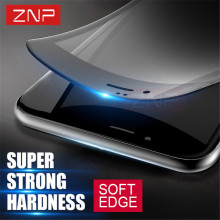 ZNP 3D Soft edge Full Tempered Glass For iPhone 6 6s 3D Curved cover carbon fiber Screen Protector for iPhone 7 7 plus 6 Glass(China)
