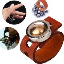 Outdoor Magic Strong Magnetic Ring Magnet Finger Magician Tool Leather Strap for Slingshot Steel Ball