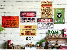 Vintage Tin signs Gun Warning Signs Dad's BBQ WIFI Coffee Bar Restaurant Shop Decorative