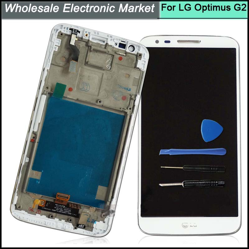 For LG Optimus G2 D802/D805 White LCD Screen+Touch Digitizer +Frame with Tools Assembly ,Free Shipping<br>
