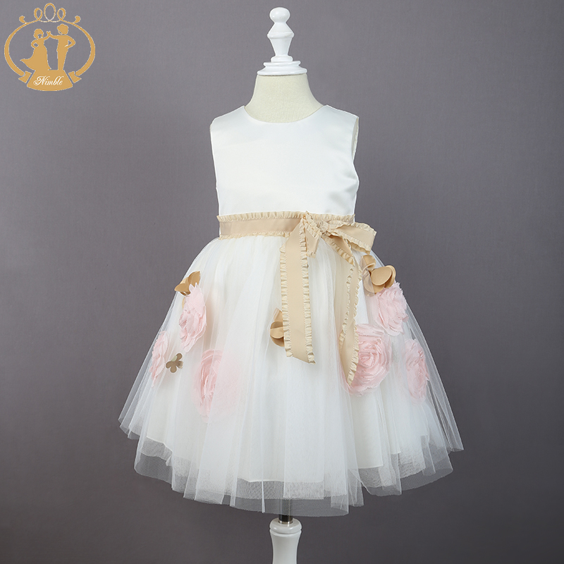 Nimble New Arrival Girls Flower clothes Ivory O-neck Princess Wedding Birthday Party Sleeveless Dress Cute Ball Gown With Sashes<br>