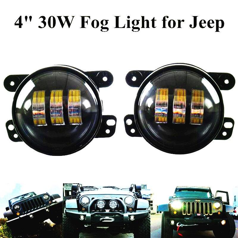 Pair 4 LED Fog Lights Headlight 4 inch Round Front Bumper LED Fog Light 30W Assembly led light lamp For Wrangler CJ TJ JK 07-15<br>