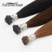 "FOREVER HAIR 0.8g/s 16"" Remy I Tip Human Hair Extension Popular Color Fusion 100% European Human Hair Extension Keratin Bond Tip(China)"