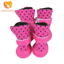 new arrival pet dot rose dog shoes for chihuahua yorkshire flannel dog boots anti silp pet booties puppy products DOGGYZSTYLE(China)