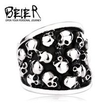 BEIER Heavy Metal Fashion Lots Biker Skull Accessories Stainless Steel Exaggerated Ring Personality Big Jewelry  BR8-247