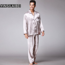 2pcs/Set Winter Faux Silk Pajamas Men Sexy Male Pajamas Long Sleeve Satin Pyjamas Homme Men Pijama Masculino SY103#07(China)