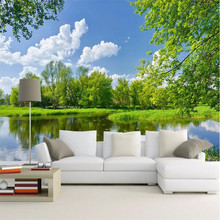 Customize Size Mural Wallpaper Background Grass Willow Creek Blue Sky Wall Paper Restaurant Home Decor Living Room Wall Painting(China)