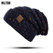 017 New Fashion Women Winter For Women CC Pattern Knitted Winter Hat Cap Men Female Male Beanies Unisex Caps Skullies Beanies(China)