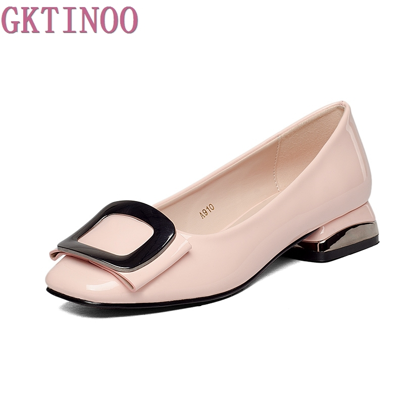 2017 Womens shoes spring and autumn buckle low-heeled work shoes square heels casual female japanned leather pumps plus size<br>