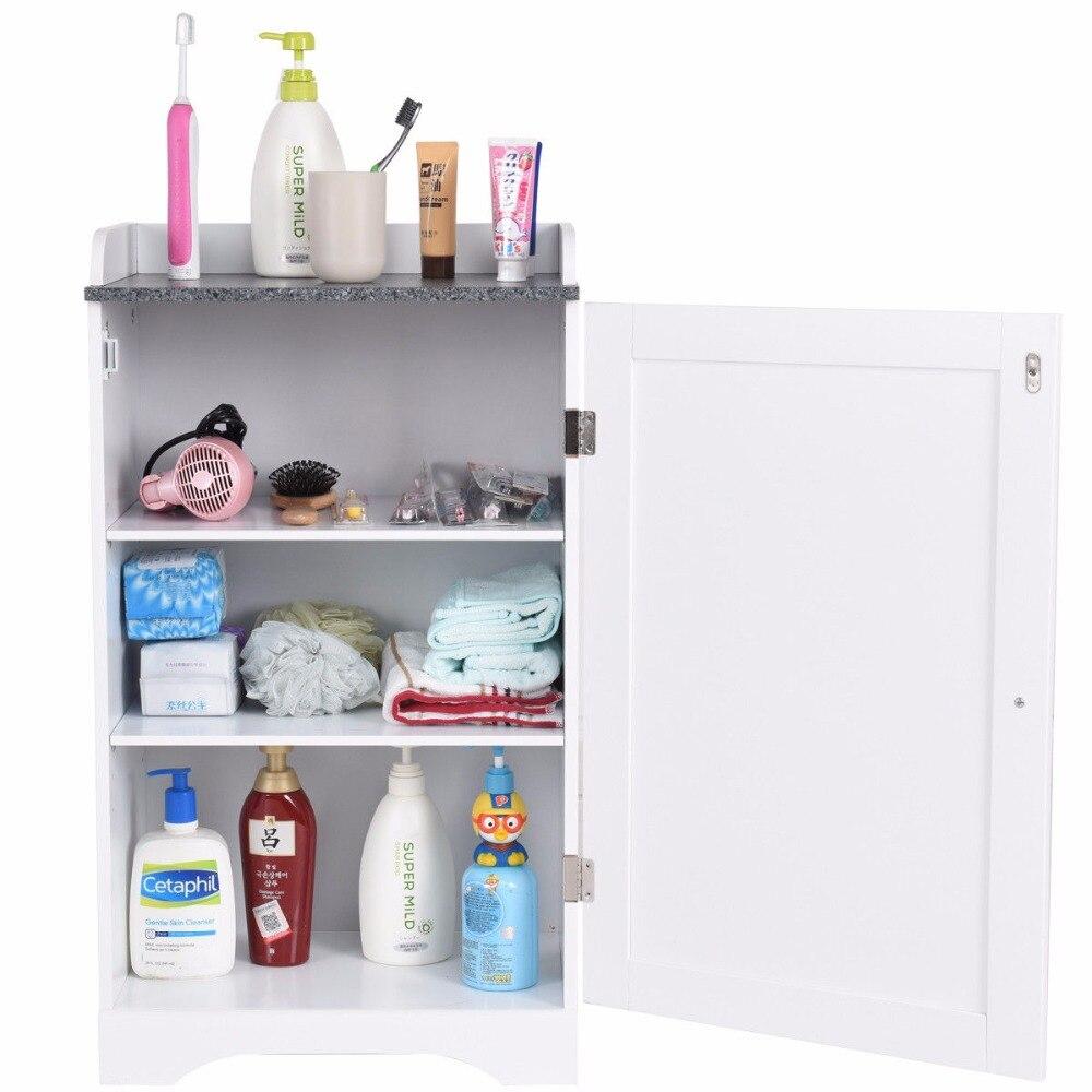 Giantex Bathroom Floor Storage Cabinet Freestanding Adjustable Shelves W/Single Door NEW Modern Bathroom Furniture HW57076 5