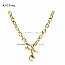 "18"" Toggle Closure Gold Rolo Chain Living Locket Floating Charms Stainless Steel LFH_018(China)"