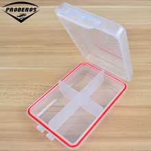 Simple 4 Compartment Plastic Fishing Tackle Box For Fishing Lures 10.5X6.8X2.6cm Fishing Accessaries Hooks Spoons Transparent