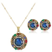 Rinhoo Vintage Jewelry Sets Round Flower Crystal Earring Pendant Necklace Set Accessories Valentine's Day gifts