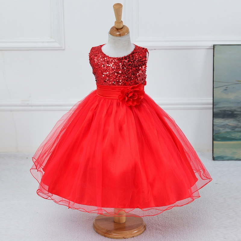 Princess Girl O-neck Sleeveless Sequined Floral Ball Gown Party Dresses One Piece Daily Dress<br><br>Aliexpress