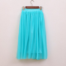 2017 Spring and summer new faldas big swing maxi skirts womens autumn winter high waist tutu long tulle skirt Color Pink Blue
