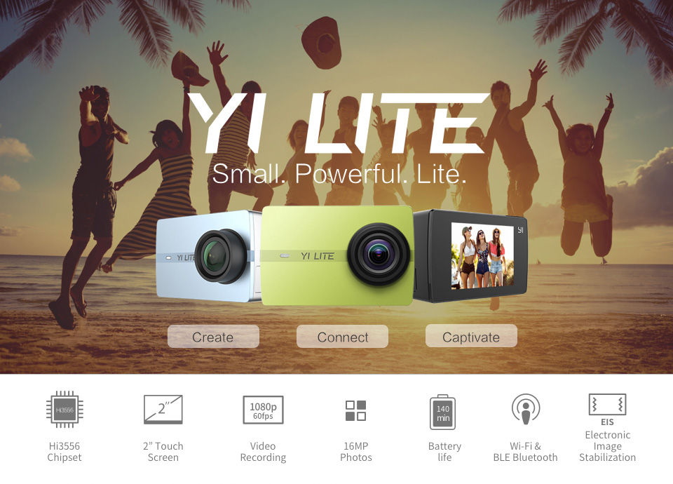YI LITE ACTION CAMERA 16MP REAL 4K SPORTS ACTION CAMERA WITH BUILT IN WIFI 2 INCH 20