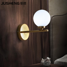 JUSHENG Modern minimalist wall lights creative fashion studio living room bedroom bedside hallway stairs glass iron wall lamp(China)