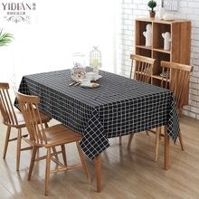 Canvas Modern Simple Style Table Cloth Black Plaid Table Cloth Rectangular Wedding Decoration Tablecloth Toalha De Mesa(China)