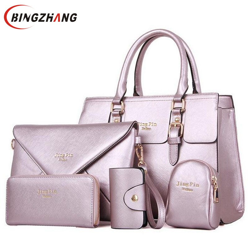 2018 Brand New Woman Handbag PU Leather Shoulder Bags Lady Handbag+ Messenger Bag+ Purse +Card Bag +Key Bag 5 Sets L4-2027<br>