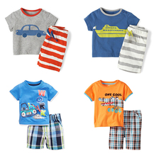 New 2017 Brand Quality 100% Cotton Baby Boys Clothing Sets Summer Children Suits Kids Clothes Short Sleeve Baby Boy Clothes Sets(China)