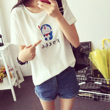 2017 Summer New Style Cartoon Dora A Dream Pattern Print Loose M-XXL White Short Sleeve Top Shirts Harajuku