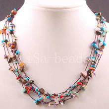 "Free Shipping New without tags 5X8MM Chip Beads Nylon Line Weave Multi-color Stone Necklace 19"" 1Pcs RE081(China)"
