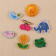7pcs parches ropa Patches For Clothing Embroidery Cartoon Animal Sun Sunflower Patchwork Baby Sticker Jacket Jean Applique Badge