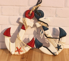 Free Shipping! 2pcs/lot Anchor Shape Wooden Wall Decoration 33cm Decorative Hanging Wooden Craft Mediterranean Style Anchor Deco