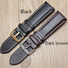 Handmade Genuine Leather Watch Band Strap 18 19 20 21 22 24mm Black Dark Brown VINTAGE Wrist Belt Bracelet Steel Pin Buckle(China)