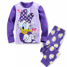 Children's pajamas set Spring&autumn fashion cartoon baby girls clothing set 100% cotton girl's pyjamas Sleepwear Duck p027