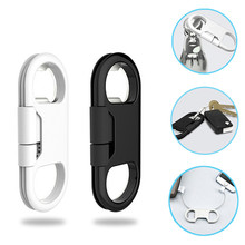 CharmTek Portable Metal Keychain USB Data Charge Sync Cable Support Bottle Opener For Huawei Samsung S6 iPhone 7 Plus