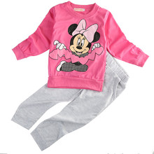 Free Shipping Baby Kids Girls Clothing set MINNIE Cartoon Mouse Long Sleeve Dot Tops T-Shirt+Pants 2pcs Outfits 2-5Y