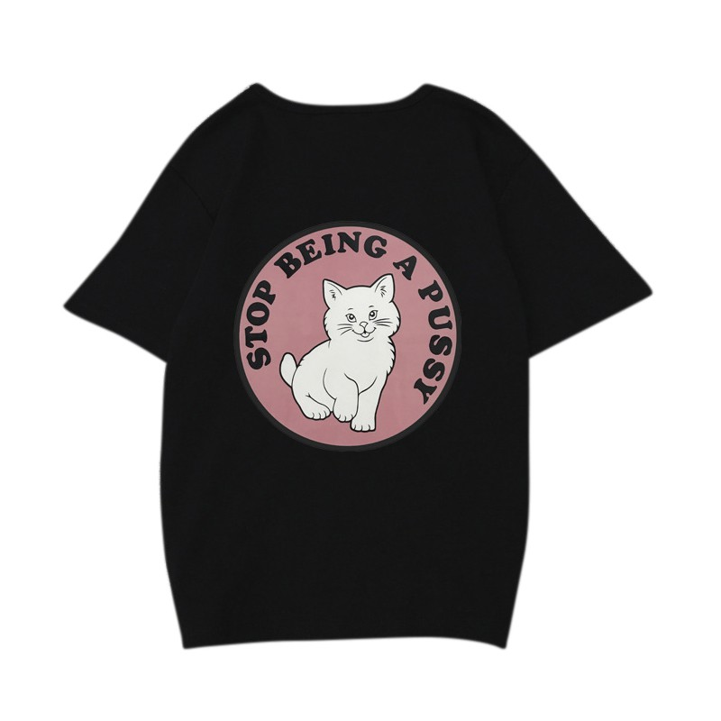 3D Printed T-Shirts Turkish Angora Cute Cartoon Cat Character with Kittens White Short Sleeve Tops Tees