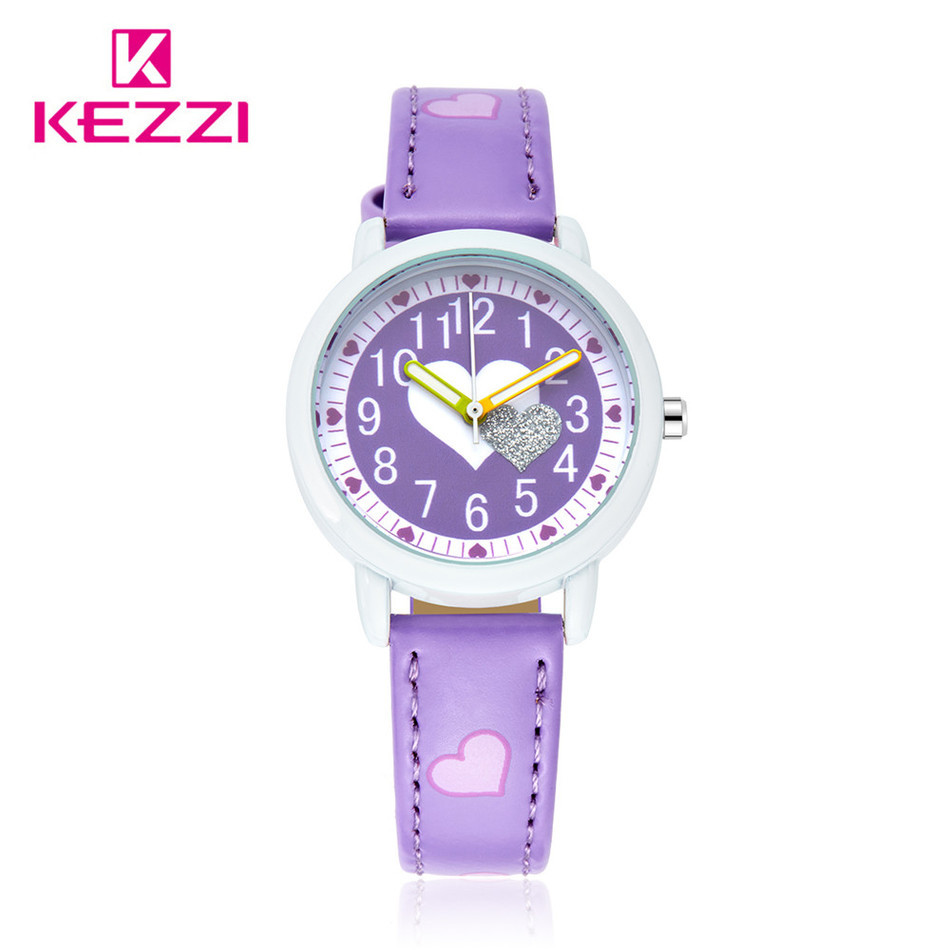 2016 Cartoon Kezzi Brand Arrive Hot Sale LOVE Kids Student Girl  Wrist Watches Japan Movenment Leather Watch Children Gift<br><br>Aliexpress