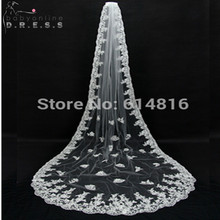 Voile Mariage Lace Bridal Veil White Ivory Cathedral Wedding Veil 2017 Velos de Novia Cheap Wedding Accessories Veu de Noiva