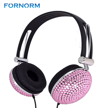 Earphone Handmade Diamante Crystal Rhinestone Headphones for DJ Mobile Phone Notebook PC Smartphone for IOS Android Smartphone(China)