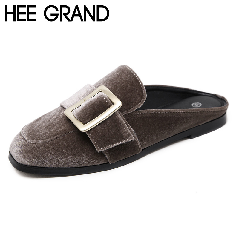 HEE GRAND Woman Flats Buckle Flat with Half Slippers Flock Gold Velvet Flats Spring Summer Womens Shoes XWD5368<br><br>Aliexpress