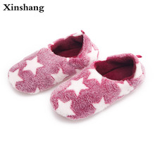 2017 Women Home Slippers Warm Winter Cute Indoor House Shoes Bedroom Room For Guests Adults Girls Ladies Pink Soft Bottom Flats(China)