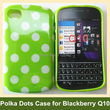 Hot Polka Dots Soft TPU Gel Cover Phone Case for Blackberry Q10 Drop Shipping