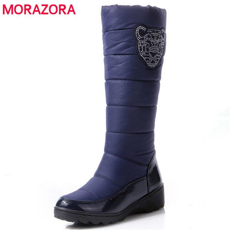MORAZORA 2017 fashion winter boots platform fur inside warm knee high snow boots for women Cotton shoes black blue brown<br>