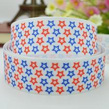 "Independence day holiday cartoon stars satin bow ribbed DIY handmade 22mm print grosgrain ribbon 7/8"" just do it grosgrain(China)"