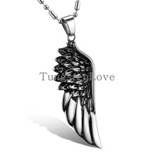 "Fashion Jewelry Stainless Steel Angel Wing Mens Pendant Necklace with 22"" Bamboo Chain, Colour Black Silver (with Gift Bag)"