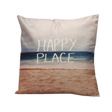 1PC natural Sea scenery pillow slip ticks HAPPY PLACE beach blue sea cushion case covering square shape on sale